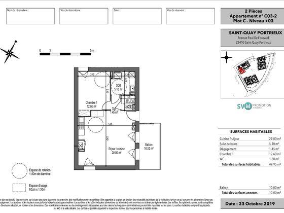 Vente appartement 2 pièces 49,95 m2