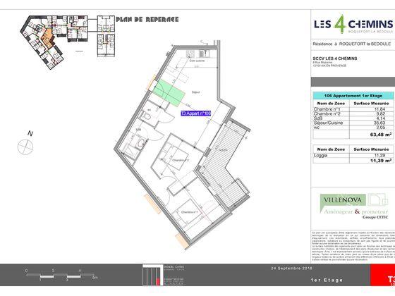 Vente appartement 3 pièces 63,48 m2