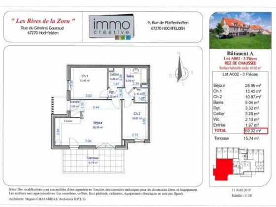 Vente appartement 3 pièces 69,02 m2