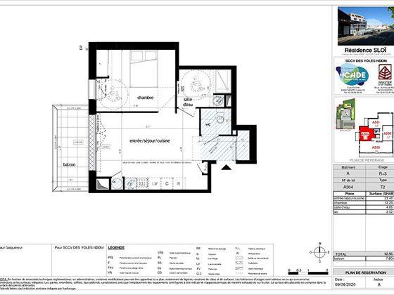 Vente appartement 2 pièces 42,56 m2