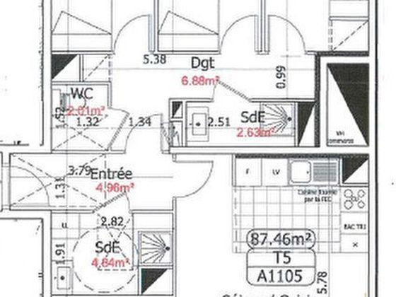 Location appartement 5 pièces 87,46 m2