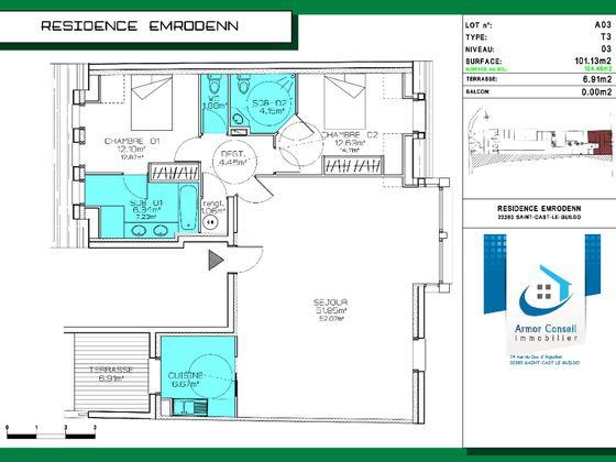 Vente appartement 3 pièces 101,13 m2