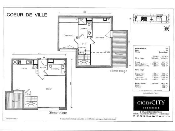 Location appartement 3 pièces 74,5 m2