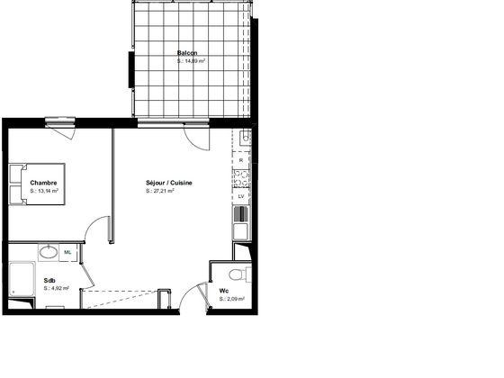 Vente studio 47,47 m2