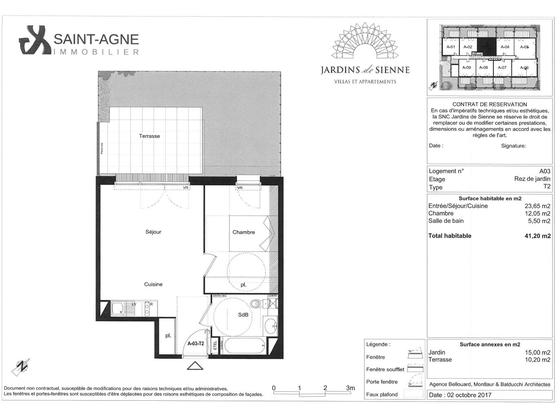 Location appartement 2 pièces 41,2 m2