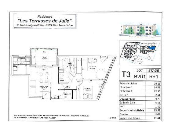 Vente appartement 3 pièces 63,58 m2