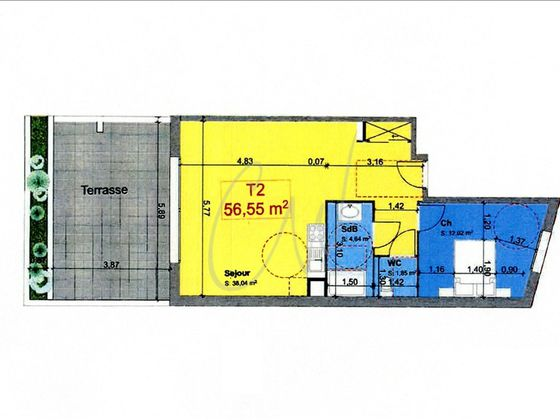 Vente appartement 2 pièces 56,55 m2