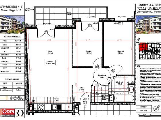 Vente appartement 3 pièces 63,6 m2
