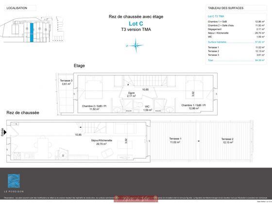 Vente duplex 3 pièces 57,82 m2