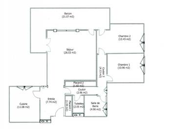 Appartement 3 pièces 86 m2