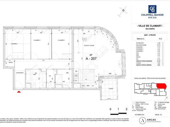 Vente appartement 4 pièces 91,67 m2
