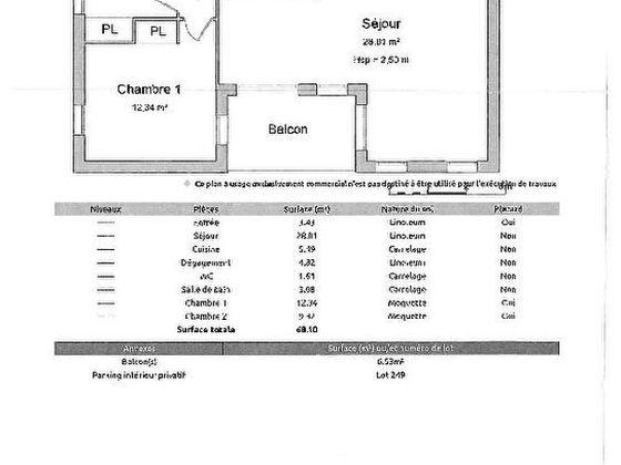 Vente appartement 3 pièces 68,1 m2