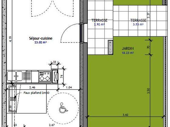 Vente studio 29,59 m2