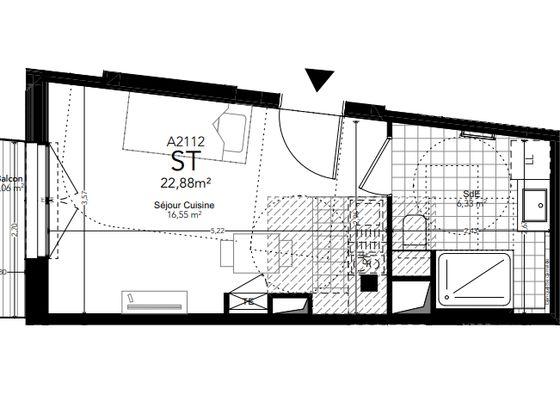 Vente studio 22,88 m2