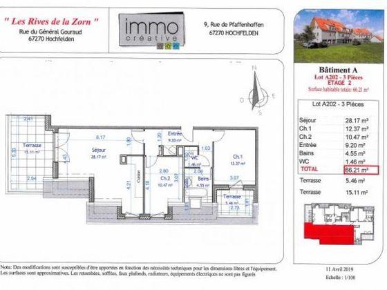 Vente appartement 3 pièces 66,21 m2