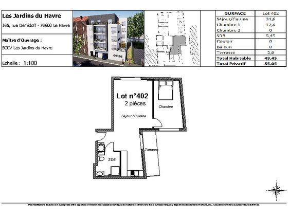 Vente appartement 2 pièces 49,45 m2