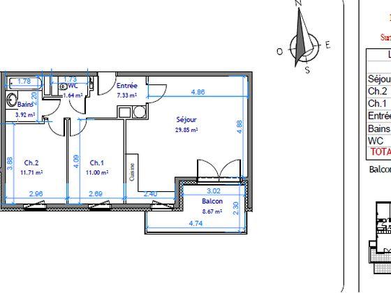 Vente appartement 3 pièces 65,45 m2