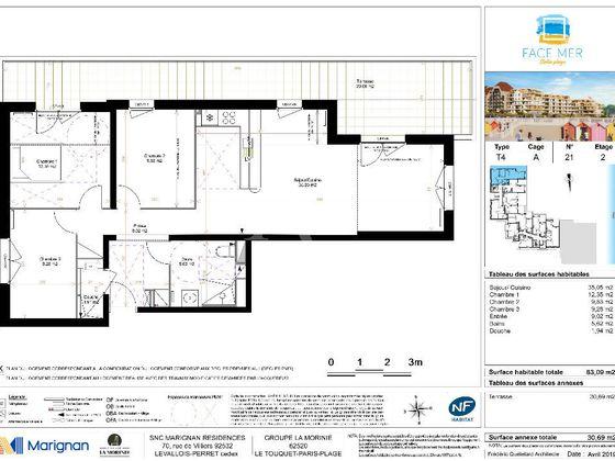 Vente appartement 4 pièces 83,09 m2