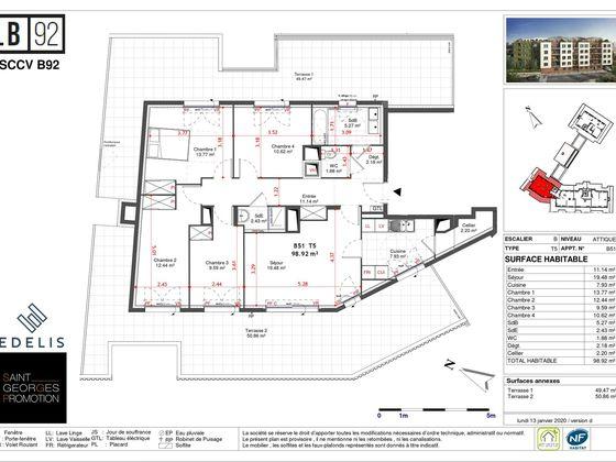 Vente appartement 5 pièces 98,92 m2