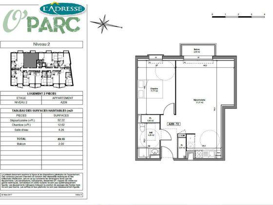 vente Appartement 2 pièces 49,22 m2 Tours