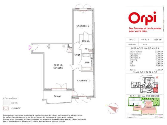 Vente appartement 3 pièces 71,64 m2