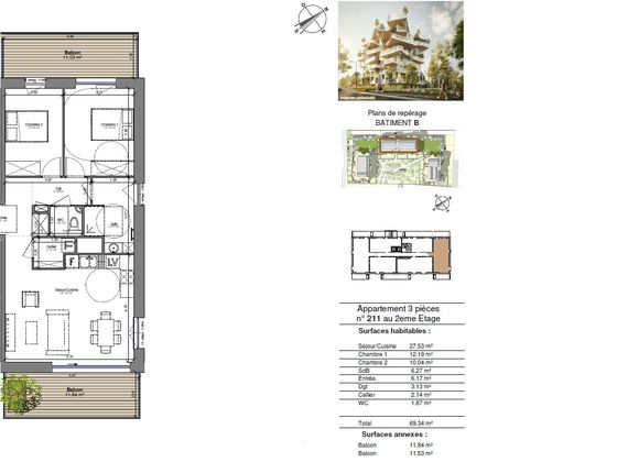 Vente appartement 3 pièces 69,34 m2