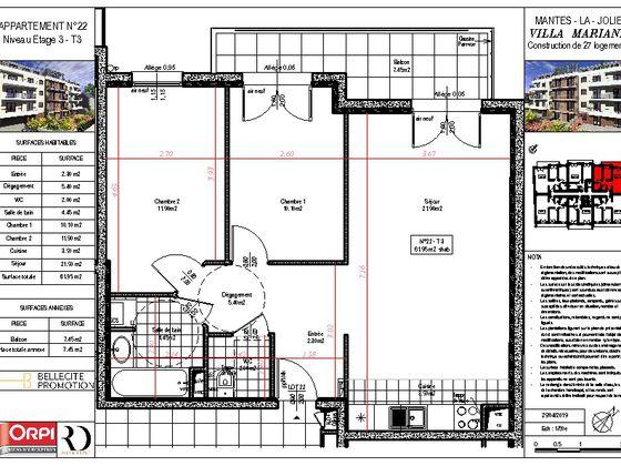 Vente appartement 3 pièces 61,95 m2
