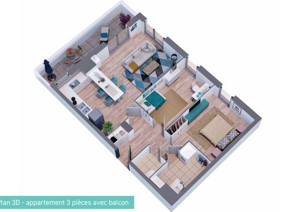 Vente appartement 3 pièces 63,18 m2