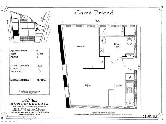 Vente studio 28,9 m2
