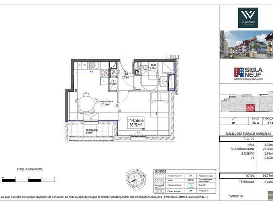 Vente studio 36,77 m2