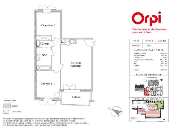 Vente appartement 3 pièces 66,33 m2