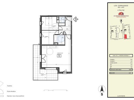 Vente appartement 3 pièces 72,4 m2