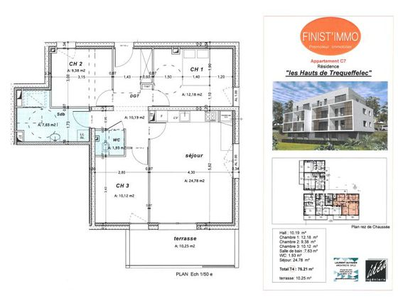 Vente appartement 4 pièces 76,21 m2