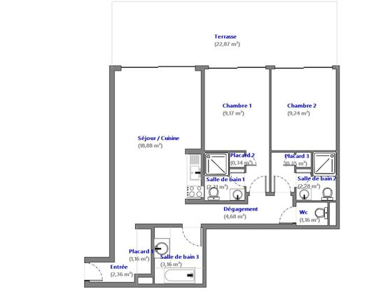 Vente appartement 3 pièces 55,09 m2