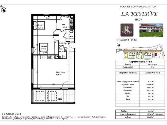 Vente appartement 3 pièces 78,94 m2