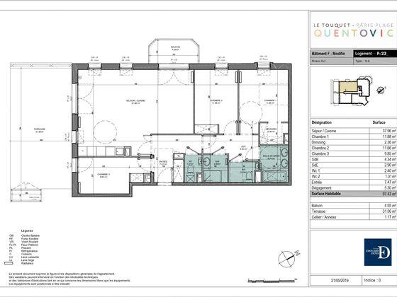 Vente appartement 4 pièces 97,43 m2