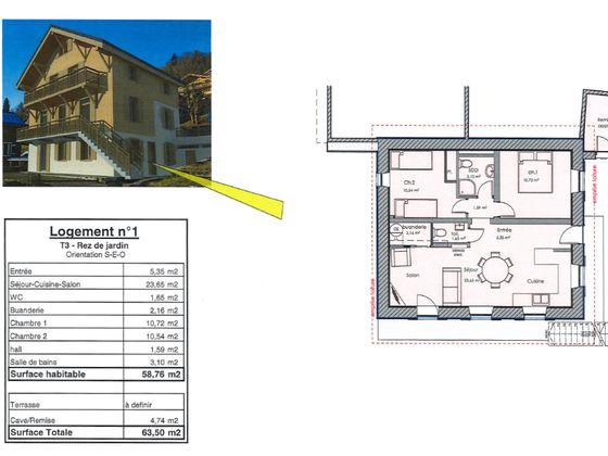Vente appartement 3 pièces 58,76 m2