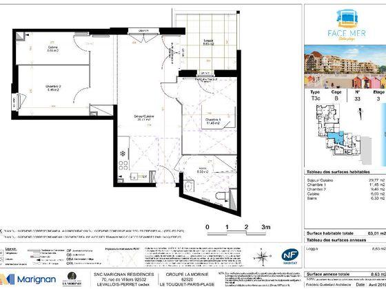 Vente appartement 3 pièces 63,01 m2