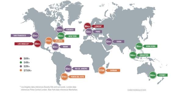 Carte du monde des prix de l'immobilier de luxe en fonction de la localisation