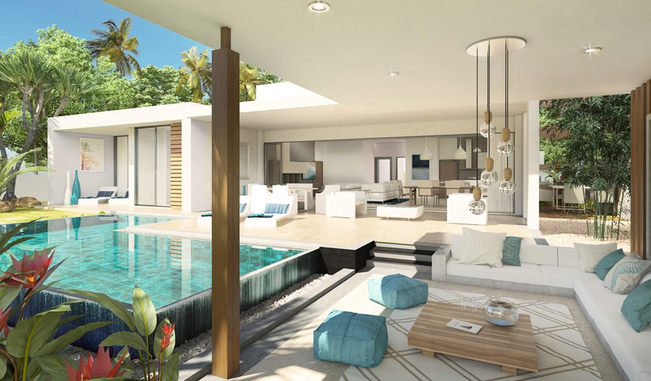 Villa avec piscine en bord de mer Roches Noires