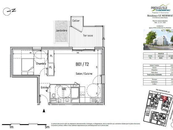Vente appartement 2 pièces 47,55 m2