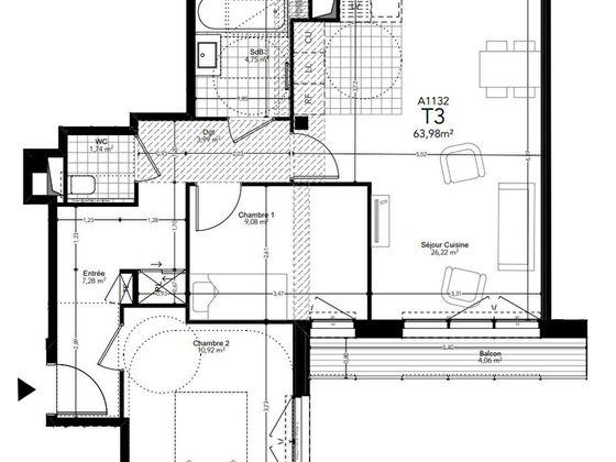 Vente appartement 3 pièces 63,98 m2