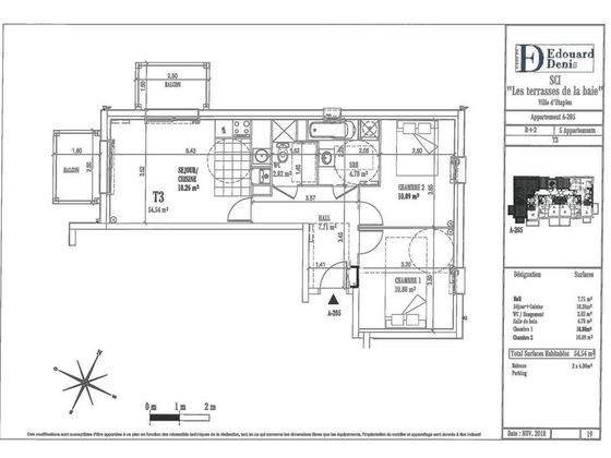 Vente appartement 3 pièces 54,54 m2
