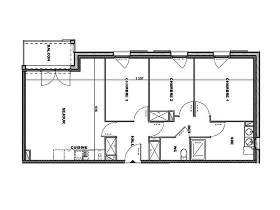Vente appartement 4 pièces 77,3 m2