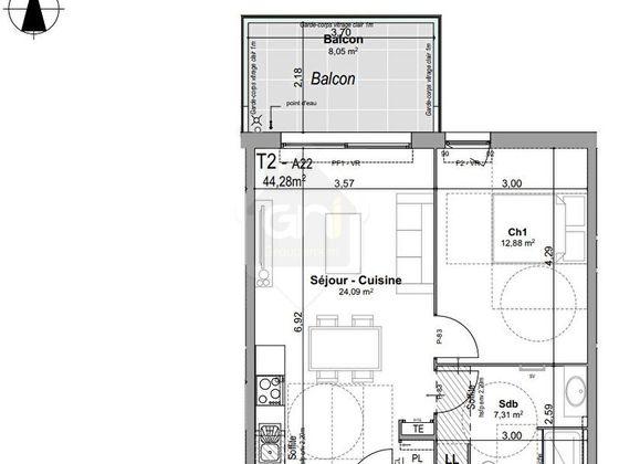 Vente appartement 2 pièces 46,61 m2