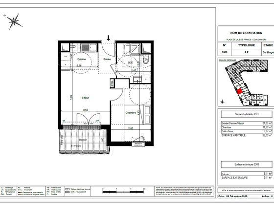 Vente appartement 2 pièces 39,14 m2