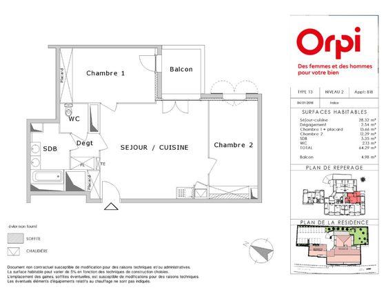 Vente appartement 3 pièces 64,29 m2