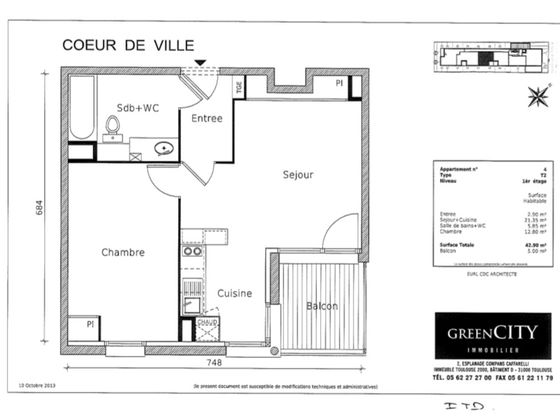 Location appartement 2 pièces 42,9 m2