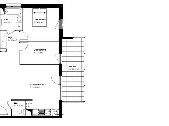 Vente appartement 3 pièces 61,58 m2