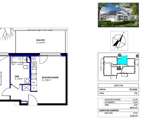 Vente appartement 2 pièces 40,74 m2